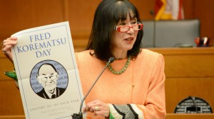 Karen Korematsu, daughter of Fred Korematsu, speaks after the re-enactment of the Fred Korematsu case on September 18, 2015, at the Federal Courthouse of Minneapolis. (Photo by Allan Block)
